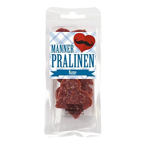 Herz & Heim® leckere Salamiherzen - Männerpralinen - mit Wunschnamen im Etikett