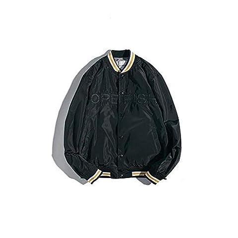 DUMMY vêtements de printemps couleur unie veste décontractée brodée de baseball pour hommes , black , m