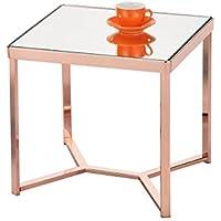 Ottmar tavolino in vetro con oro quadrato