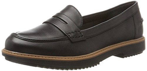 Clarks Damen Raisie Eletta Mokassin, Schwarz (Black Leather), 39.5 EU