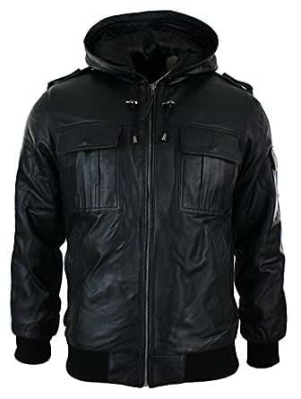Mens Real Leather Jacket / Hooded / Black / Slim Fit (small, black)