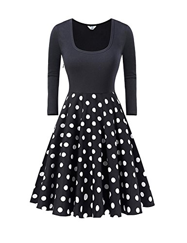 Damen 1950er Skaterkleid Cocktailkleid Strandkleid A-Linie Kleider Basic Kleider Black M