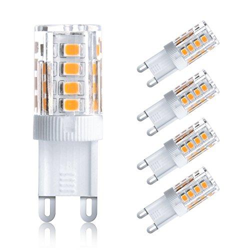 Ascher 4er-Pack G9 3W LED Lampe [vgl. 25W Halogen, 250LM, Warmweiß , AC 220-240V, 360º Abstrahlwinkel] G9 LED Birnen, LED Leuchtmittel