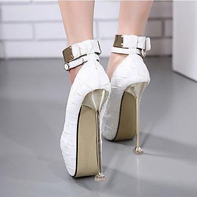 Da donna-Tacchi-Formale-Plateau-A stiletto Plateau-Finta pelle-Nero Rosso Bianco Grigio White