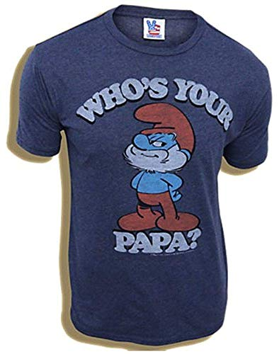 Junk Food Smurf Blue Dad Who's Your Papa Navy Blue Adult T-Shirt 6Months - Junk-food, Soft-t-shirt
