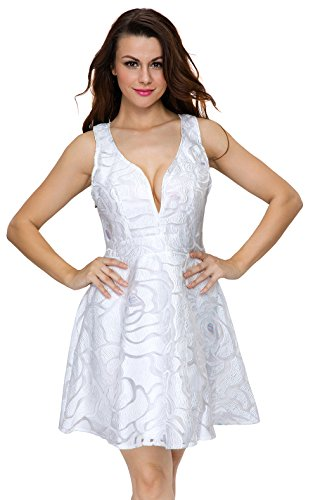 EOZY Robe Femme Courte Robe Soirée Imprimée Col V Profond Été Blanc
