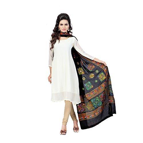 Banjara Women'S Cotton Stoles & Dupattas Kutchi Chakachak (Chk01_Black_Handicraft Dupatta_Free Size)