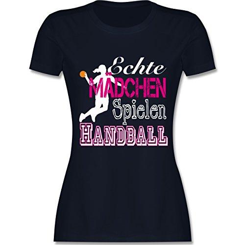 Handball - Echte Mädchen Spielen Handball weiß - L - Navy Blau - L191 - Damen T-Shirt Rundhals