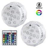 2pcs télécommande sous-marine lumières étanche décoratif LED réservoir de...