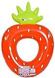 Jilong Strawberry Ring - XXL Schwimmring, Poolsessel im Style einer Erdbeere, aufblasbare Wassermatratze 167x116x32 cm, Luftmatratze für Pool oder Meer, Schwimmsessel