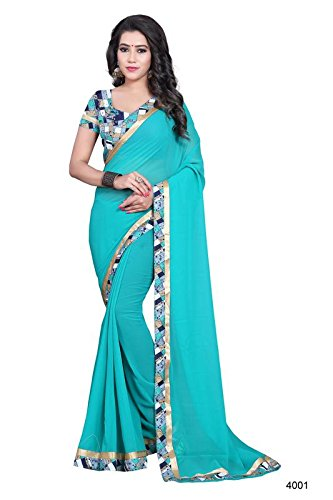 The Virgo Fashion Women's Georgette Sarees Party Wear/Fancy Georgette Sarees/Plain Georgette Sarees with Lace border