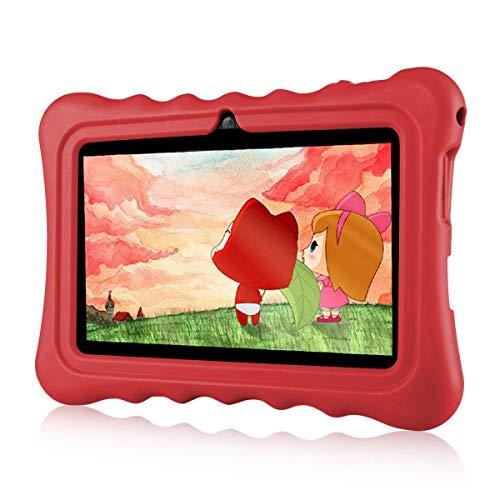Ainol Q88A Tablet per Bambini da 7 Pollici, Android 8.1 A50 Cortex-A7 Quad Core 1GB+8GB Tablet Educativo, con Custodia in Silicone Stander, WiFi Doppia Fotocamera, Rosso