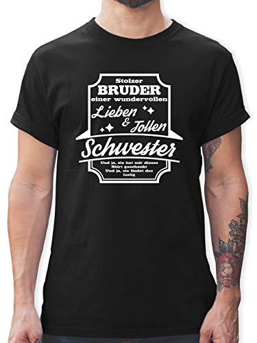 Bruder & Onkel - Stolzer Bruder Einer Schwester - M - Schwarz - L190 - Herren T-Shirt und Männer Tshirt - Kleinkind-t-shirt Klassiker