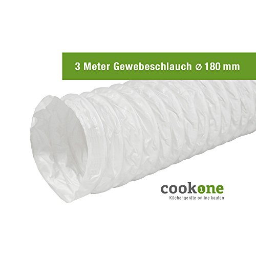 EASYTEC Abluftschlauch Ø 180 mm / 182 mm Länge 3 Meter Gewebe Schlauch (Dunstabzugshaube Professionelle)
