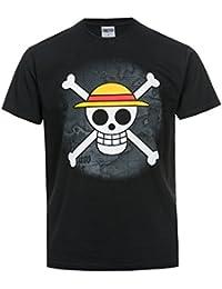 T-shirt One Piece Equipage du Chapeau de Paille crâne noir