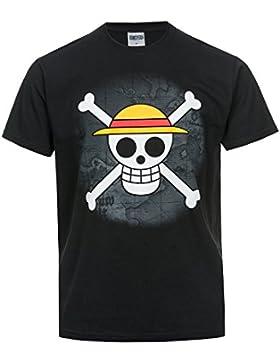 Camiseta de One Piece, diseño de calavera con sombrero de paja, color negro, negro, L
