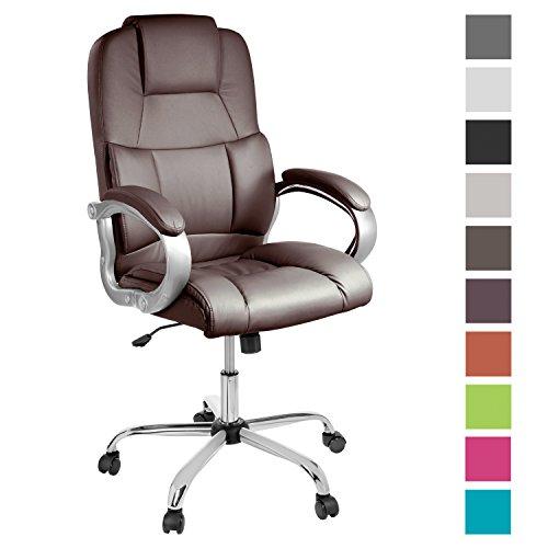 TPFLiving bequemer Premium XXL Bürostuhl Chefsessel Schreibtischstuhl DENVER braun belastbar bis 210 kg hochwertig Kunstleder Wippfunktion stabile Castor Rollen in 10 Farben wählbar