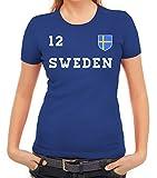 Sverige Sweden Fußball WM Fanfest Gruppen Damen Frauen T-Shirt Rundhals Trikot Schweden, Größe: M,Royal Blau