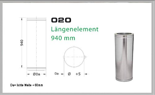 Laengenelement 940mm für Schornsteinsets 150mm
