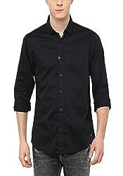 Spykar Mens Black Slim Fit Casual Shirts (X-Large)