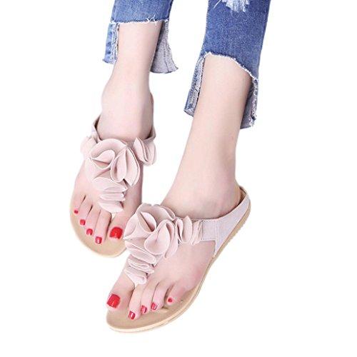 Chanclas de playa de verano para mujer Zapatos planos ocasionales Longra Lady Bonitas sandalias de flores para niña (Rosa, CN:39)