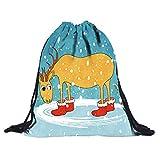 Elsta Nicht gewebt Kordelzug Taschen Weihnachten 3D Digital Drucken Frauentasche Tasche Rucksack...