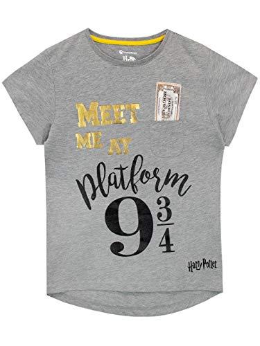 HARRY POTTER Mädchen Plattform 9 und 3/4 T-Shirt Grau 116 -