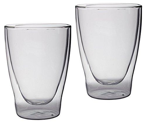 Feelino Lattechino doppelwandige Latte Macchiato-Gläser, 2er-Set 300ml XL Thermo-Gläser mit Schwebe-Effekt im Geschenkkarton