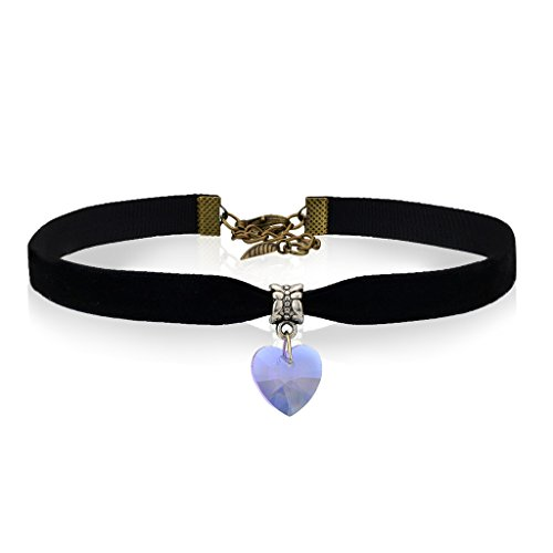 Collar-pendiente-de-la-Velvet-Band-Negro-corazn-del-elemento-de-Swarovski-Crystal-Collar-Gargantilla-para-las-mujeres