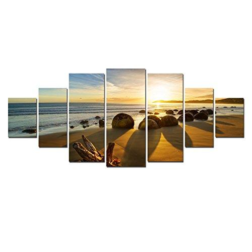 Startonight grande quadro su tela È andato in spiaggia, stampe incorniciato e pronta da appendere design moderno arredamento arte fotografia formato xxl multipannello di 7 parti 100 x 240 cm
