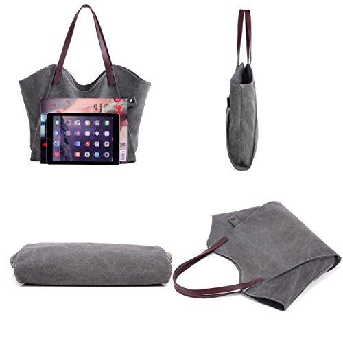 Frau Segeltuchbeutel Große Kapazität Art Und Weise Große Taschen Handtaschen Kurierbeutel Beiläufig Schultertaschen Einkaufen Einkaufen Handtaschen Brown