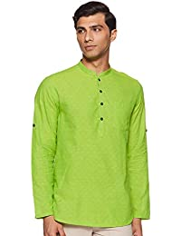 Indus Route by Pantaloons Men's cotton Kurta (110049623_ Lime Green_ Medium)