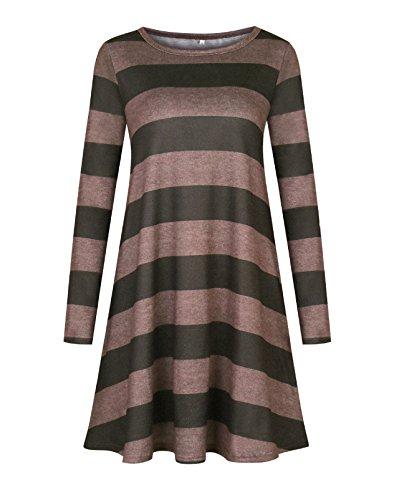 Donna Autunno T-Shirt Vestiti Casual Righe Camicia Vestito Abito Rotondo Collo Minidress Manica Lunga Vestitino Armygreen