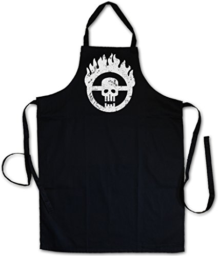 SKULL WHEEL INSIGNIA �J� BARBECUE BBQ COOKING KITCHEN GRILLING APRON � Scrotus Mad Miller Main Force Patrol Furiosa Max Thunderdome Gibson Hardy Mel Tom Australia Sizes S - 5XL