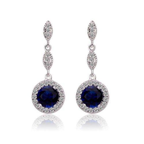 Klaritta E652 - Orecchini in argento stile vintage, con pietra a goccia, colore: blu zaffiro
