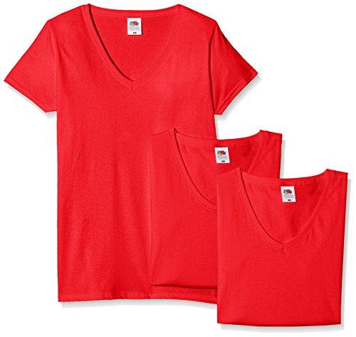 Fruit of the Loom Damen T-Shirt, 3er Pack Rot
