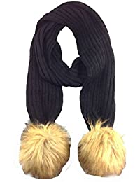 New style ribbed knitted fur pom scarf Black