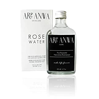 ARI ANWA - Echtes Rosenwasser Spray - 100% rein & natürlich in Glasflasche   Gegen unreine Haut, gegen Pickel, große Poren und Augenringe   Vegan und tierversuchsfrei