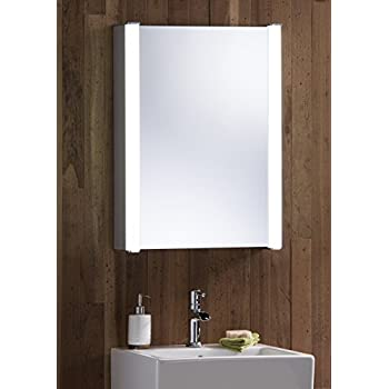 Minifair led illuminated bathroom mirror cabinet shaver demister neue design led illuminated bathroom mirror cabinet with wire free demister heat pad shaver socket and sensor switch with lights fully certified to british mozeypictures Gallery