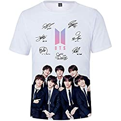 BTS T-Shirt para Hombre y Mujer 3D Digital Impresión Camisetas Personalidad Blusas Cuello Redondo Remeras Manga Corta Tops