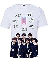 007ef3855 BTS T-Shirt para Hombre y Mujer 3D Digital Impresión Camisetas Personalidad  Blusas Cuello Redondo