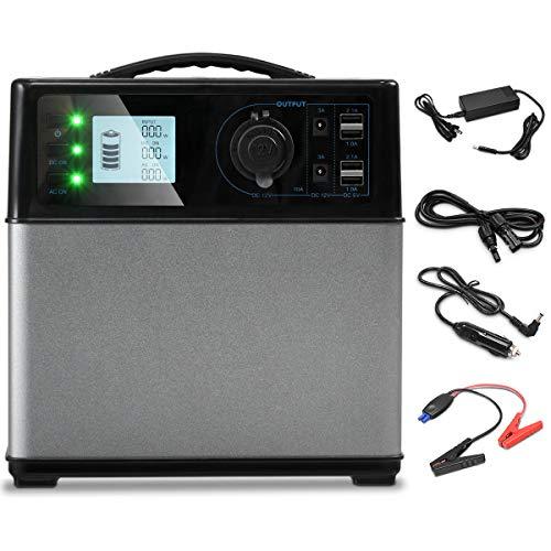COSTWAY Groupes Eléctrogènes 400Wh-120000mAh Alimentation du Générateur d'énergie Solaire avec Écran LCD Chargée de Solaire/AC/DC/Voiture 4 USB Ports Noir