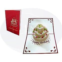 LIN-POP UP Grußkarten zum Geburtstag, Geburtstagskarten Glückwunschkarten Grußkarten Geburtstag, Geburtstagstorte