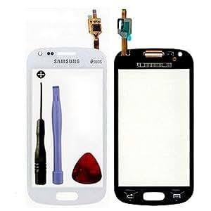 Vitre ecran tactile pour Samsung Galaxy S Duos GT-S7562 ou TREND GT-S7560 couleur BLANC (sans LCD), Adhésif double face pré-collé d'usine, Outils fournis + 1 Pack individuel film protection d'écran -PhoneColors-