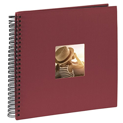 Hama Jumbo Fotoalbum, 36 x 32 cm, 50 schwarze Seiten, 25 Blatt, mit Ausschnitt für Bildeinschub, Fotobuch bordeaux