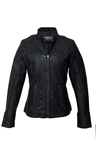 *Urban Leather UR-141 Coole Kurze Biker Damen Lederjacke LB01, Schwarz, Große : 3XL*