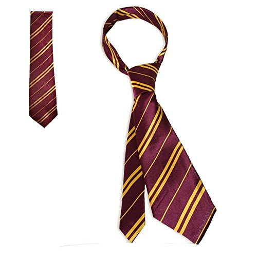 Best Dress Kostüm London Fancy - Jean Junction School Uniform Neckties - Wizard School Pinstripe Costume Tie - NEW (Gryffindor Maroon L)