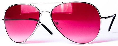 Pilotenbrille Fliegerbrille Pornobrille Sonnenbrille Art. 4027-5 Rahmen: silber, Gläser: pink, mit Federscharnieren!