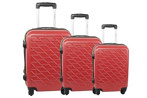 3 Maletas rígidas PIERRE CARDIN rojo cabina para viajes S287
