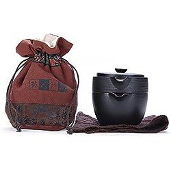 Tragbare Reise Kungfu Tee-Set, chinesische / japanische Art, Art und Weise einfache handgemachte Schwarze Keramik Teekanne & 4 Teetassen